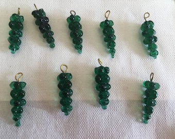Vintage Czech Molded Emerald Green Grape Cluster Drops Glass Trade Bead Lot