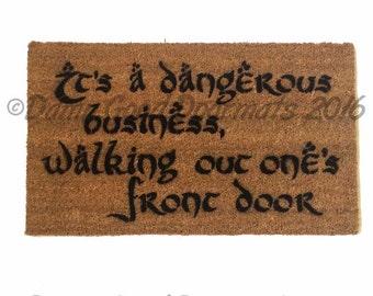 Dangerous walking out front door, Gandalf geek doormat Tolkien door mat geek nerd welcome houseware