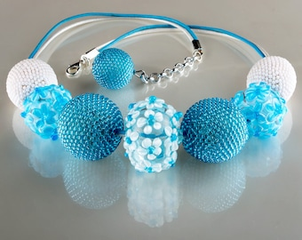 Beaded Beads Beadweaving Necklace, Art-Glass Lampwork Beads Necklace, Light Blue White Necklace, OOAK