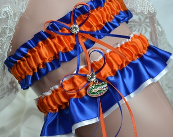 Florida Gators Theme- Bridal Garter Set Wedding Garter Bridal Garter Sport Garter