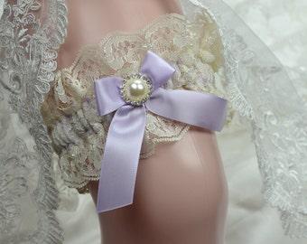 Wedding Keepsake Garter / Lavender  And Ivory Lace Keep Garter / Keepsake Garter /Bridal garter