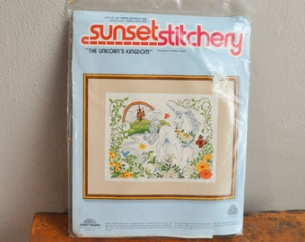 Vintage 80s Unicorn In Fantasy world Crewel Needlework Embroidery  Kit Rainbows