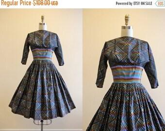 ON SALE 1950s Party Dress - Vintage 50s Dress - Colorful Black Silk Taffeta Full Skirt Dress XS Xxs - Stained Glass Window