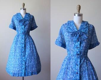 50s Dress - Vintage 1950s Dress - Blue Novelty Print Egyptian Cityscape Rhinestones Full Skirt Dress XL XXL - Indigo Ink Dress