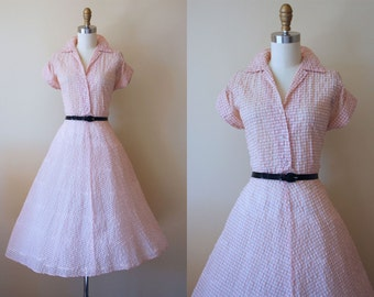 50s Dress - Vintage 1950s Dress -  Simple Sweet Pink Grey Plaid Sheer Shirtwaister L - Kisses Dress