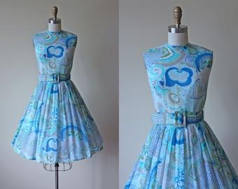 60s Dress - Vintage 1960s Dress - Aqua Olive Floral Voile Cotton Full Skirt Sundress S - Coastal Trip Dress