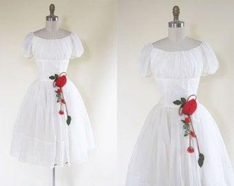 50s Dress - Vintage 1950s Dress - White Chiffon Bust Shelf Wedding Party Dress S - Snow White Rose Red Dress