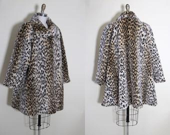 Vintage Leopard Coat - Leopard Print Faux Fur Swing Coat XL XXL - No Regrets Coat