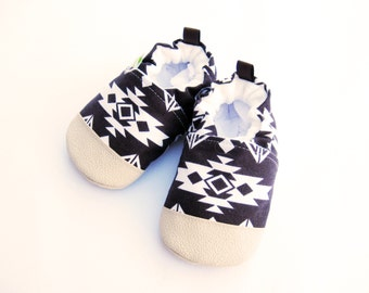 Classic Vegan Tribal in Brown /  Non-Sip Soft Sole Baby Shoes / Made to Order / Babies Toddlers