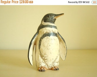 Penguin figurine, hand painted and textured, realistic fine porcelain, 1970s vintage collectibles, shelf display, stocking stuffer