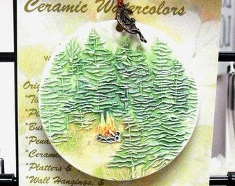 Tall Timbers Campfire ORNAMENT plus free gift wrap, original, 100% handmade