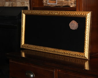 Long, narrow, Gold, Ornate Framed, Magnetic Chalkboard Weddings/Home/Restaurants (10 x 22 inches0