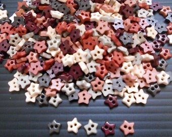 100 pcs - Fancy star Tiny buttons - 6 mm - mix earth tone color