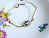 Thin Silver Glitter Bracelet, Gold Brass Bracelet, Resin Jewelry, Minimalist Bracelet, Boho Bracelet