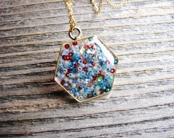 Bead Hexagon Necklace, Seed Bead Necklace, Boho Necklace, Bohemian Jewelry, Long Statement Jewelry, Resin Jewelry