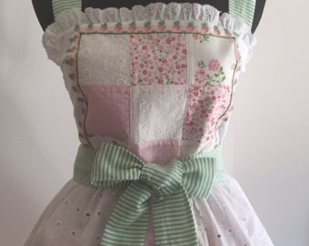 Little Bo-Peep Feminine Lace, Embroidered Trim, Eyelet, Quilted Woman's Retro Look Apron