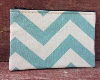Medium Zipper Pouch Aqua Chevron Handmade in Iowa