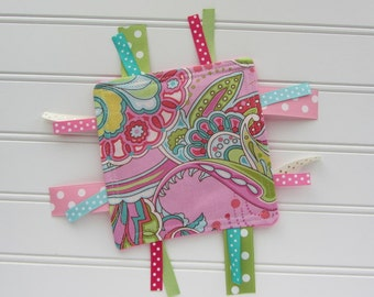 Crinkle Toy - Baby Girl - Pink, Lime, Aqua Paisley with Pink Fleece Back, Ribbon Toy