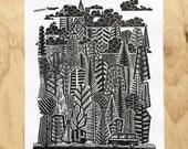 Camper Decor - Linocut - Rock Climbing - Lino Print - Campervan - California - Mountain Art Print - Lake Tahoe - Yosemite - PNW