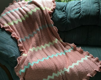 Salmon -Pink Crocheted Ripple Afghan