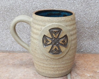 Coffee mug tea cup with a celtic knotwork roundel hand thrown stoneware