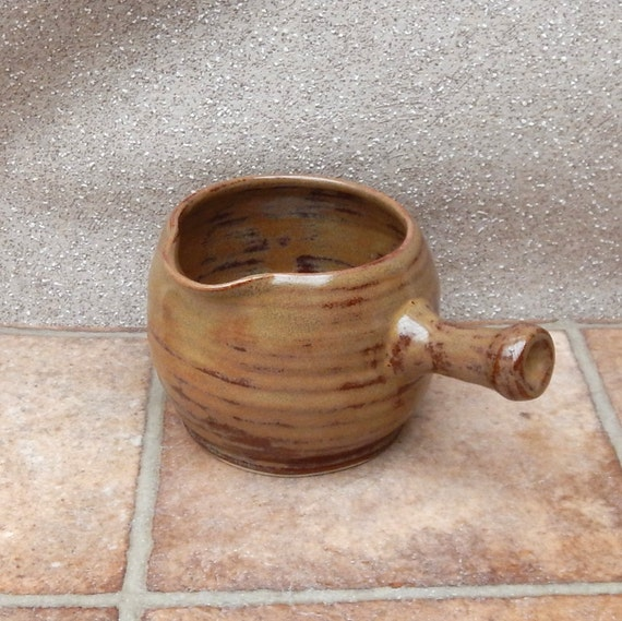 Sauce jug or gravy boat or pitcher wheelthrown in stoneware pottery ceramic