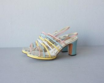 60s Sandals | 1960s Pumps | 1960s Heels | Pastel Heels 60s - size 6.5, 37