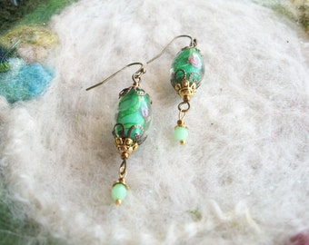 Dainty Lamp Work Bead Earrings, Sea Foam Green with Tiny Lime Dangle