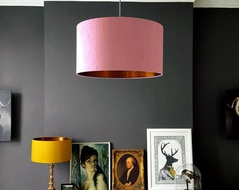 Blush Pink Indian Silk Dupion Lampshade With Brushed Copper Lining