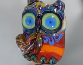 "Glass Owl Lampwork Bead  ""Oscar"" -  SRA"