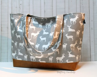 Diaper Bag /  Overnight Bag / Travel Bag - Grey Deer with Vegan Leather - Large / XLarge Tote Bag