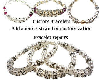 Add a Strand or name to a Ladies Name Bracelet - Bracelet Repair -add new baby , child, children personalization to custom bracelet