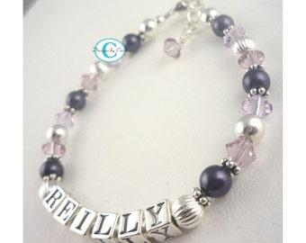 Name Bracelet for girls- purple and light amethyst- sterling silver custom