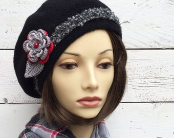 Black Wool Beret with Flower, Black Beret, Black Hat, Wool Beret, Tam, French Beret, Beanie, Wool Hat, Winter Hat, Womens Hat