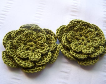 Crochet flower 3 inch pima cotton olive green motif set of 2