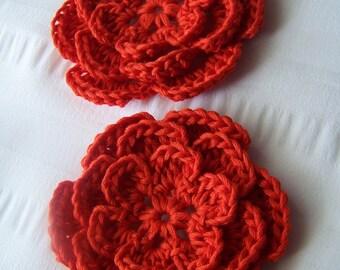 Crochet flower 3 inch pima cotton pomegranate orange red  motif set of 2