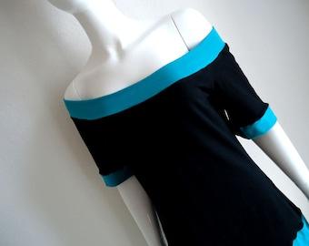 Blue / Black • Cotton Lycra • Off Shoulder • Top • Large / XL • Short Sleeves