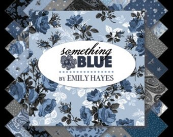 """Something Blue  18 10"""" Stacker Squares  Layer Cake precuts by Penny Rose  100% cotton fabric for quilting"""