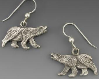 Pewter Polar Bear Hook Earrings
