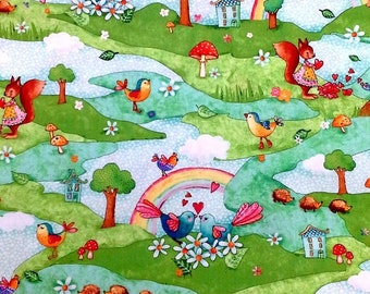 Woodland Animal Scene 100% Cotton Fabric Rainbow Woodland by Red Rooster Birds Hedgehogs Squirrels Nursery Kids Fabric