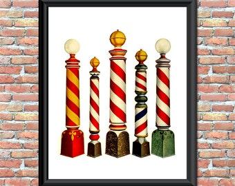 Vintage Barber Shop Poles Art Print Haircuts Printable Digital Download