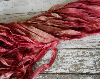NeW - Hand dyed ribbon -  FALLEN ROSE dazzle ribbon, 5 yards