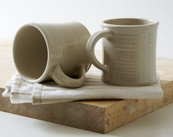 Set of two fluted mugs glazed in simply clay - hand thrown stoneware pottery