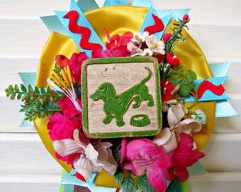 Vintage Dachshund Dog Prize Ribbon Decoration FUN