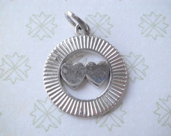 Vintage Sterling Two Hearts Charm