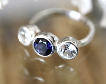 Iolite And White Topaz Sterling Silver Ring, Gemstone Ring, Three Stones Ring, Engagement Ring, Recycled Sterling Silver Ring -Made To Order