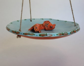 ceramic hanging bird bath/feeder - koi fish