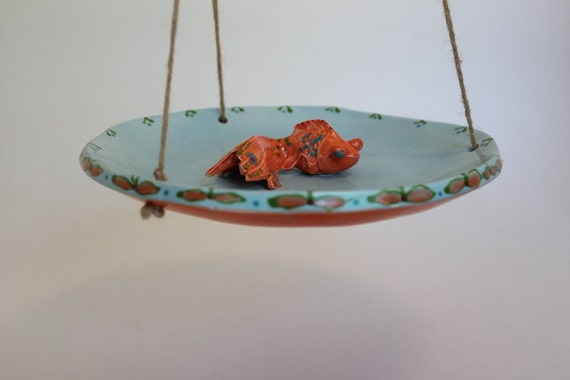Ceramic hanging bird bath feeder koi fish for Koi fish feeder
