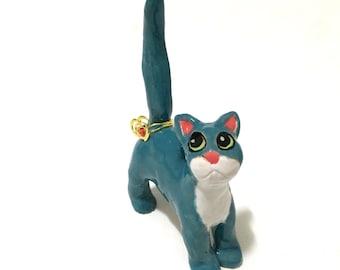 Cat Ring Holder, Anime Cat Art, Turquoise Cat, Hand-Built Cat Sculpture