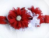 Deep Red and White Christmas Headband